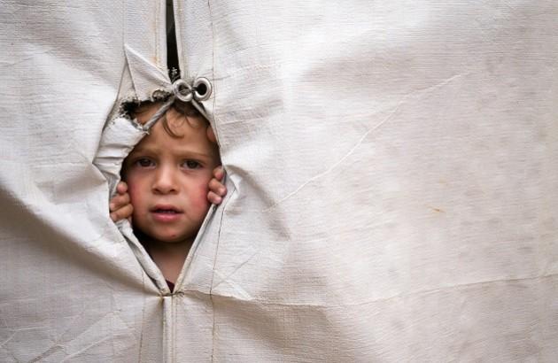 کودک آوارۀ سوری در کمپ سازمان ملل