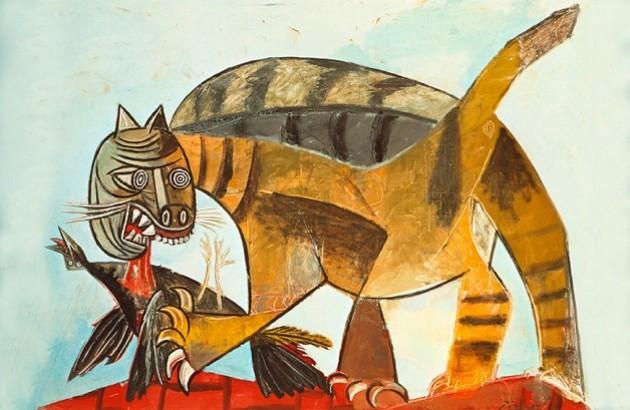«گربه در حال خوردن پرنده». اثر پابلو روییس ای پیکاسو (Pablo Ruiz y Picasso) نقاش و شاعر اسپانیایی. ۱۹۳۹