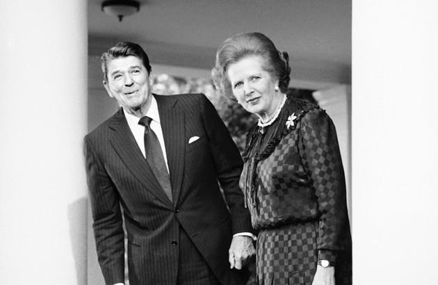 کنفرانس مشترک خبری رونالد ریگان و مارگارت تاچر؛ ۲ ژوئیۀ ۱۹۸۲، کاخ سفید.