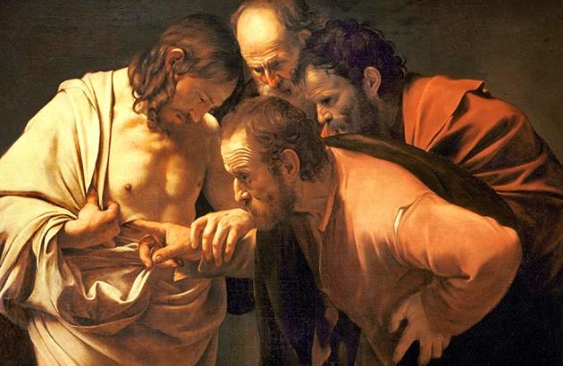 ناباوری سنت توماس. مسیح دست توماس را بر روی زخم خود میگذارد تا شک او را برطرف کند. نقاش: کاراواجو (۱۶۰۱).