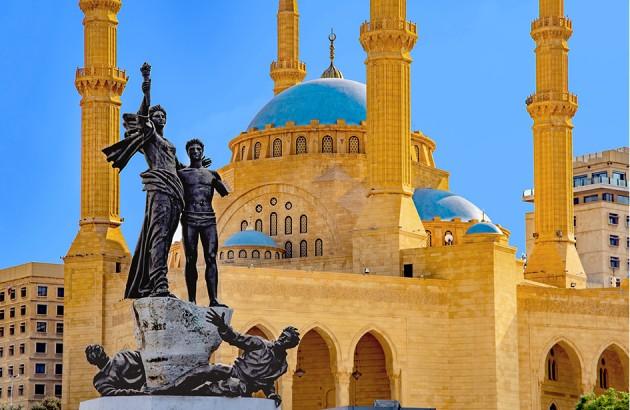 نمای مسجد محمدامین از میدان شهدای بیروت، لبنان. عکاس: فردریک پرییر.
