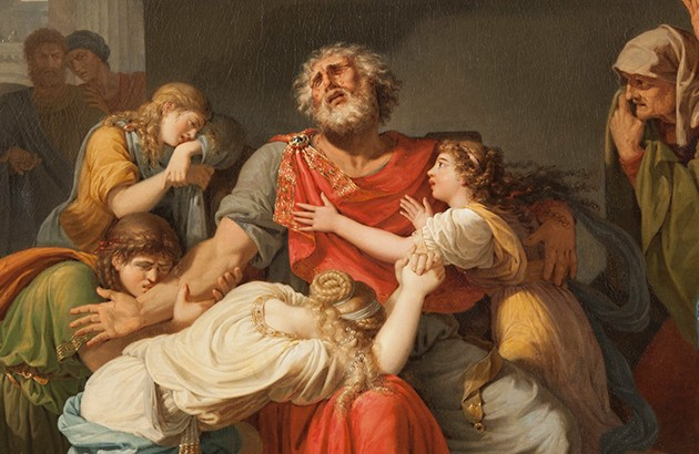 ادیپ نابینا فرزندانش را به خدایان سفارش میکند. نقاش: بنینیه گانیِرو.