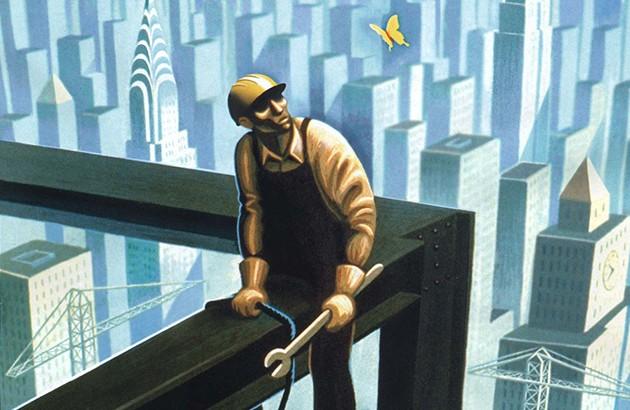 تصویر جلد شمارۀ مۀ ۲۰۰۸ مجلۀ نیویورکر. تصویرساز: اریک دروکر.