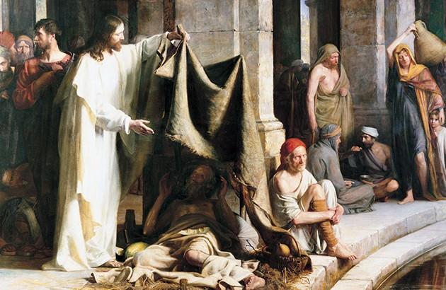 شفای بیمار فلج بهدست عیسی(ع) در نزدیکی تالاب بیتحسدا. نقاش: کارل هنریک بلاخ.